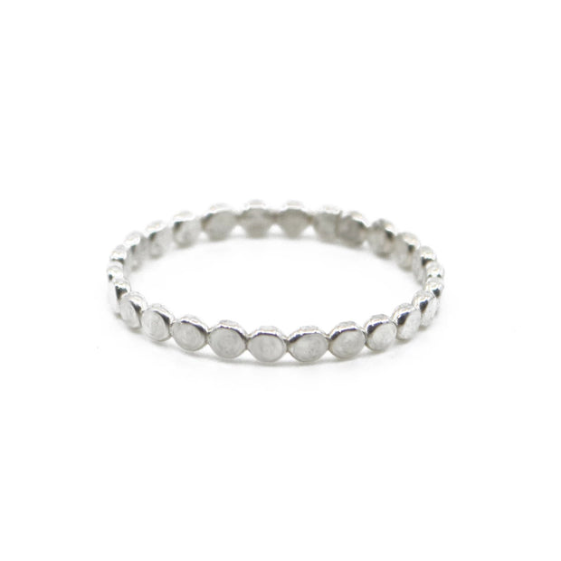 Coin Hammered Disc Ring in Silver 1