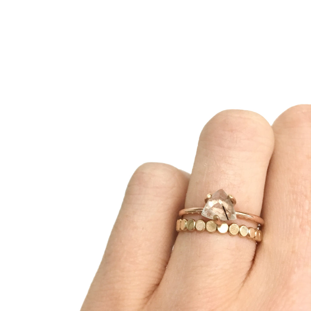 Coin Hammered Disc Ring in Gold