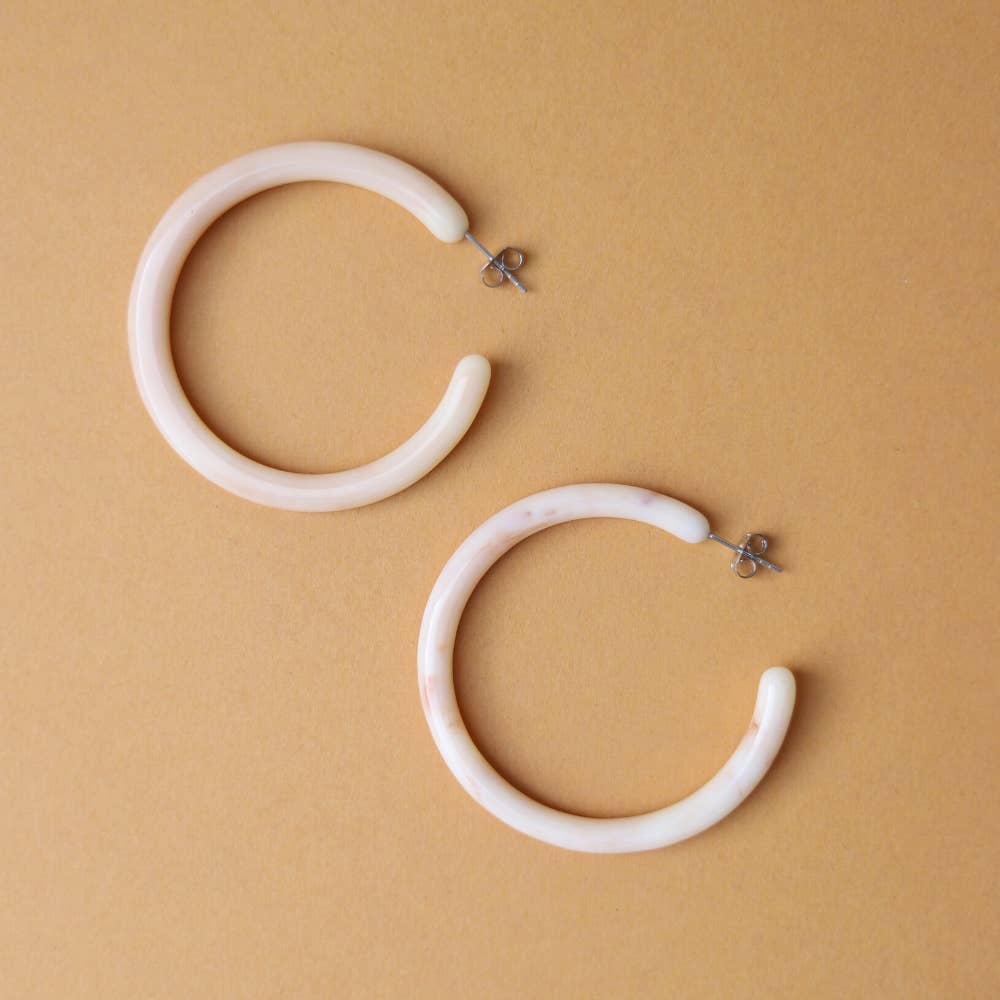 Cream Big Hoops - Nat & Noor