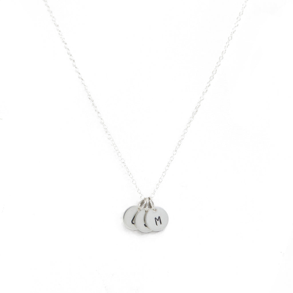 Stamped Initial Necklace in Silver