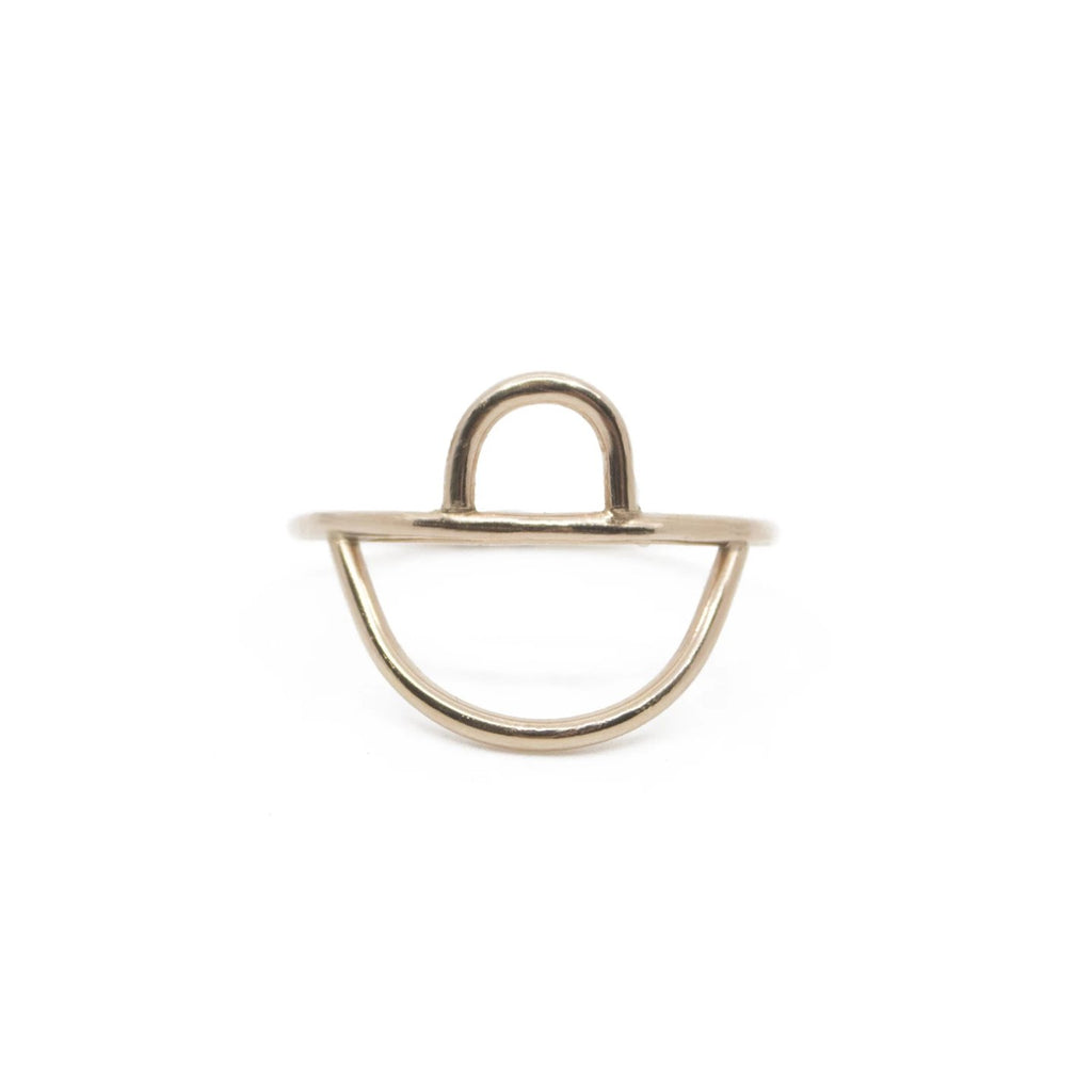 Minimalist dainty stacking gold shape ring