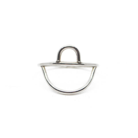 Minimalist shaped silver jewelry ring