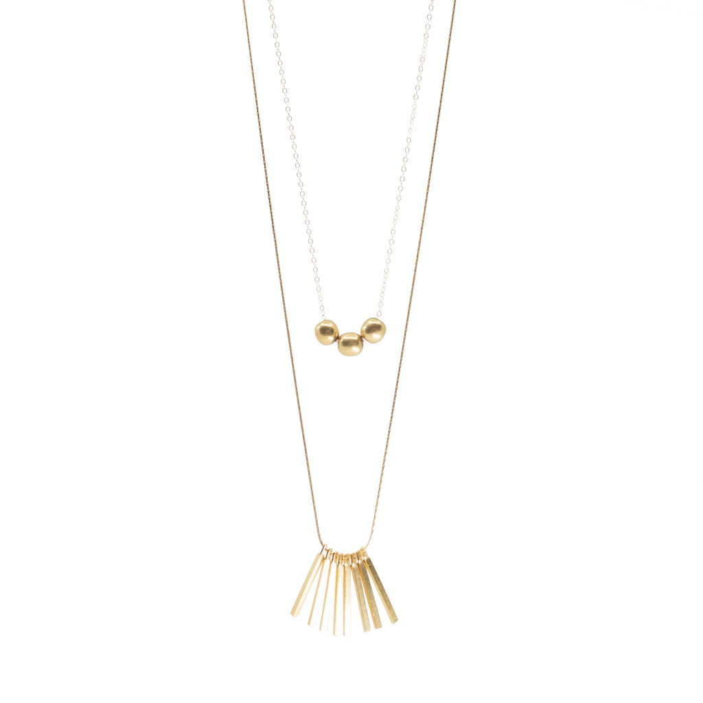 Dainty bohemian layering gold handmade necklace