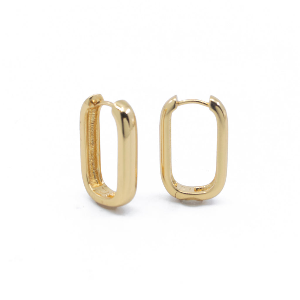 Emma Elongated Hoop Earrings in Gold