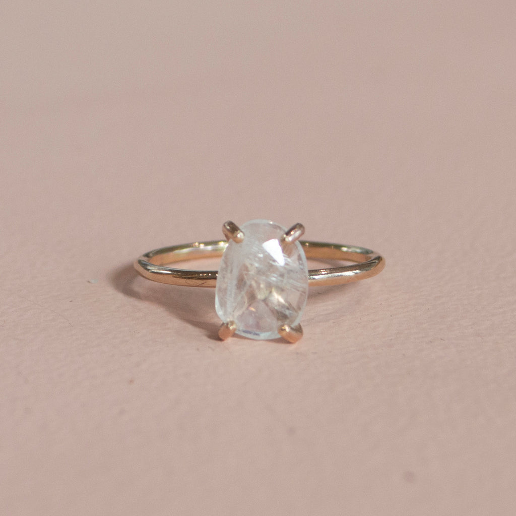 *Limited Edition* Freeform Rainbow Moonstone Ring in Gold