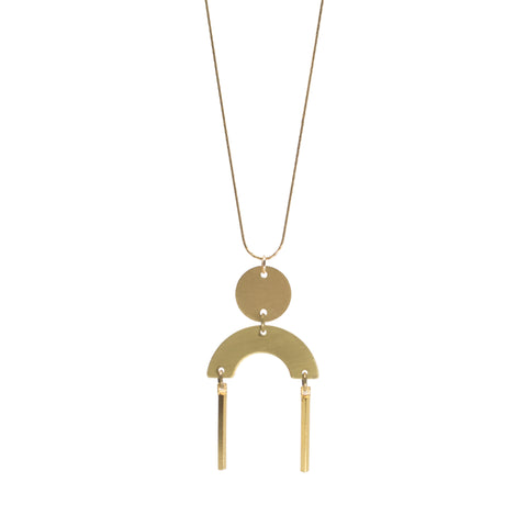 Half Disc Drop Necklace in Gold