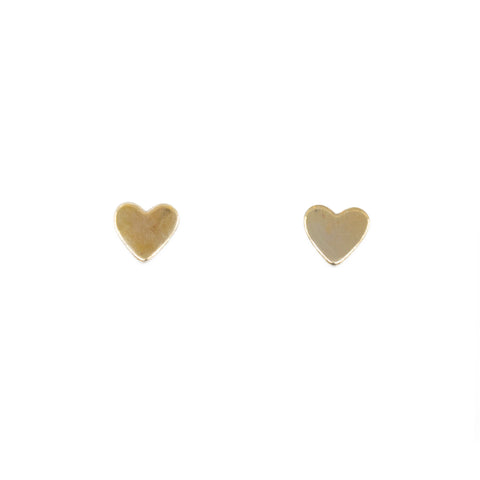 Dainty mini heart stud brass earrings