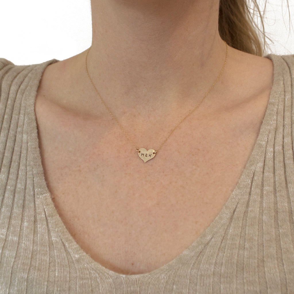 Initial Heart Necklace in Gold