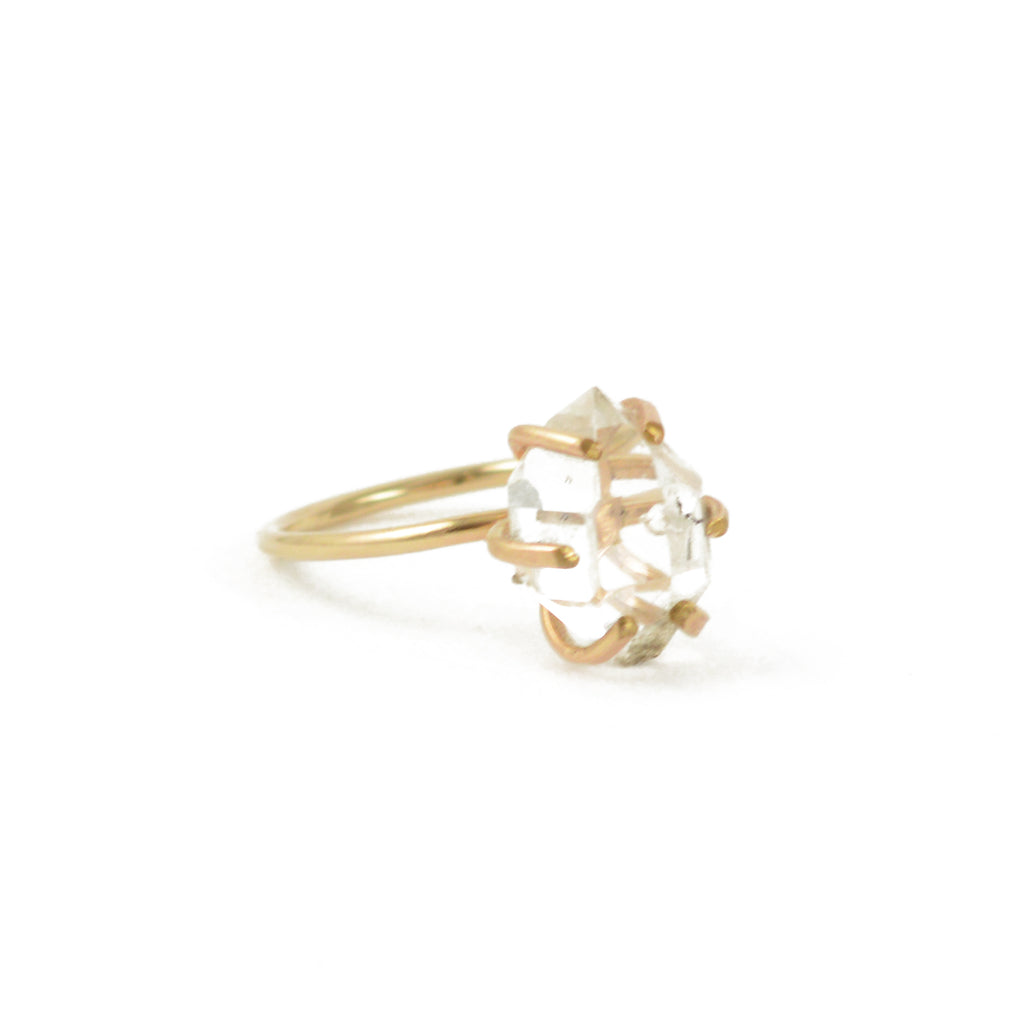 Herkimer Diamond Ring in Gold