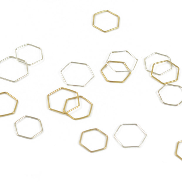 Hexagon Stacking Ring in Silver 1