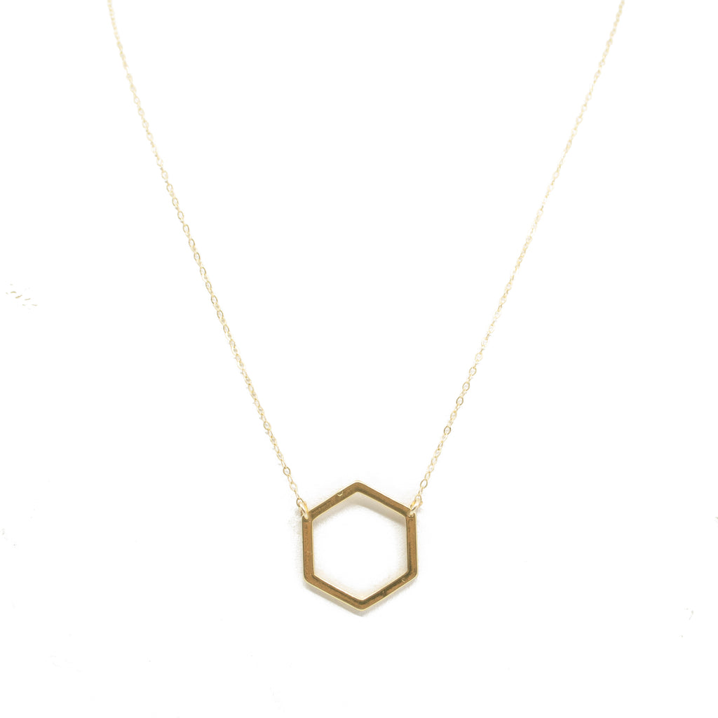 Gold Honeycomb Charm Necklace