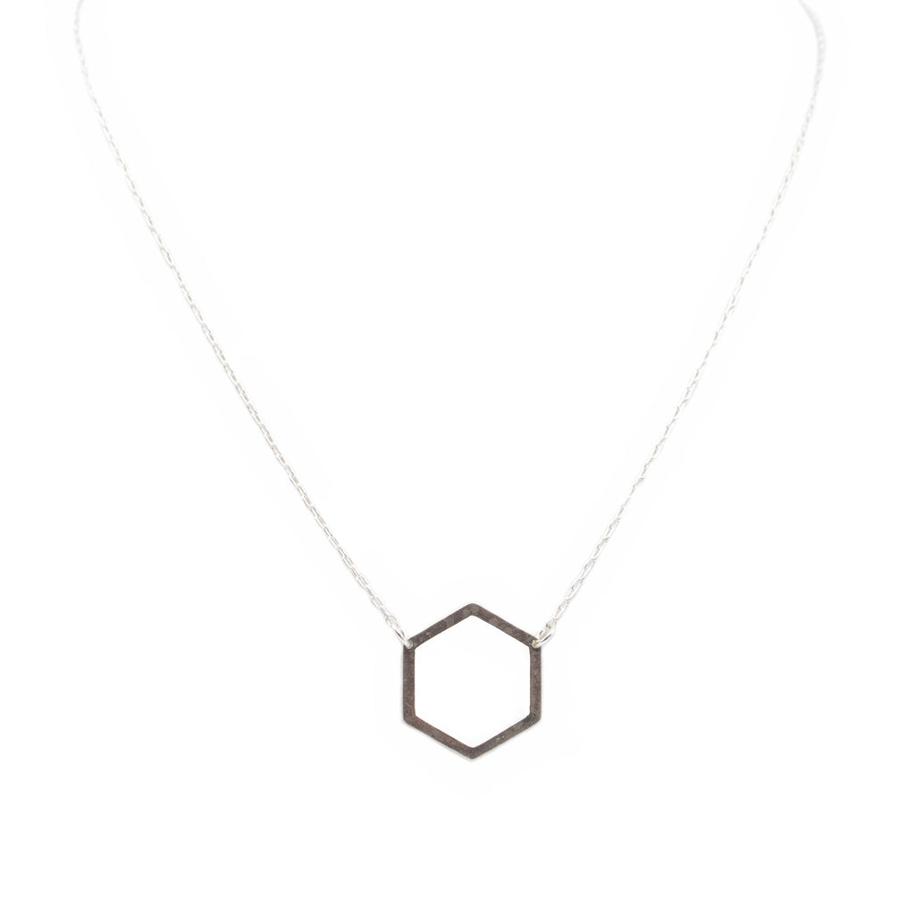 Silver Honeycomb Charm Necklace