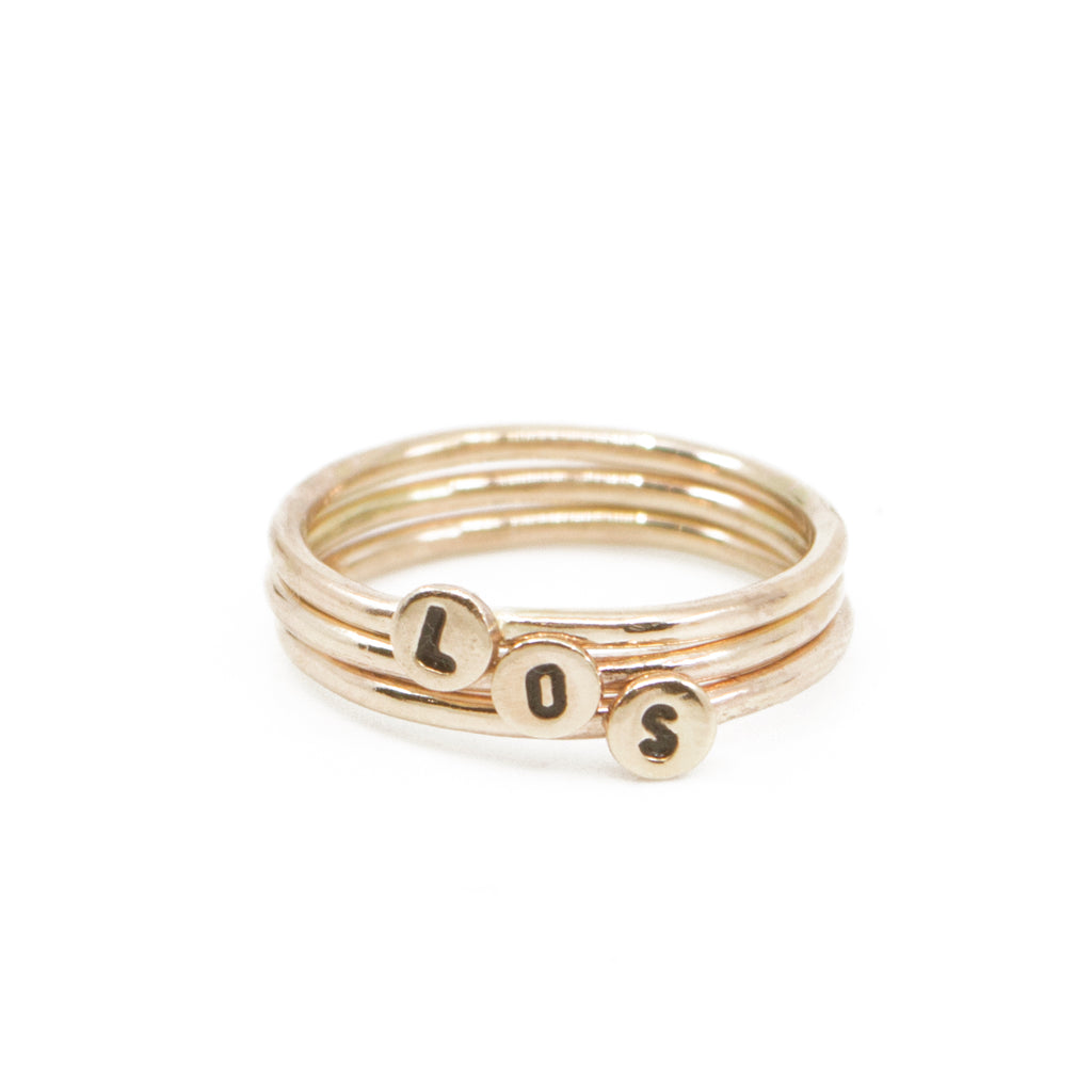 Mini Letter Initial Stacking Ring in Gold