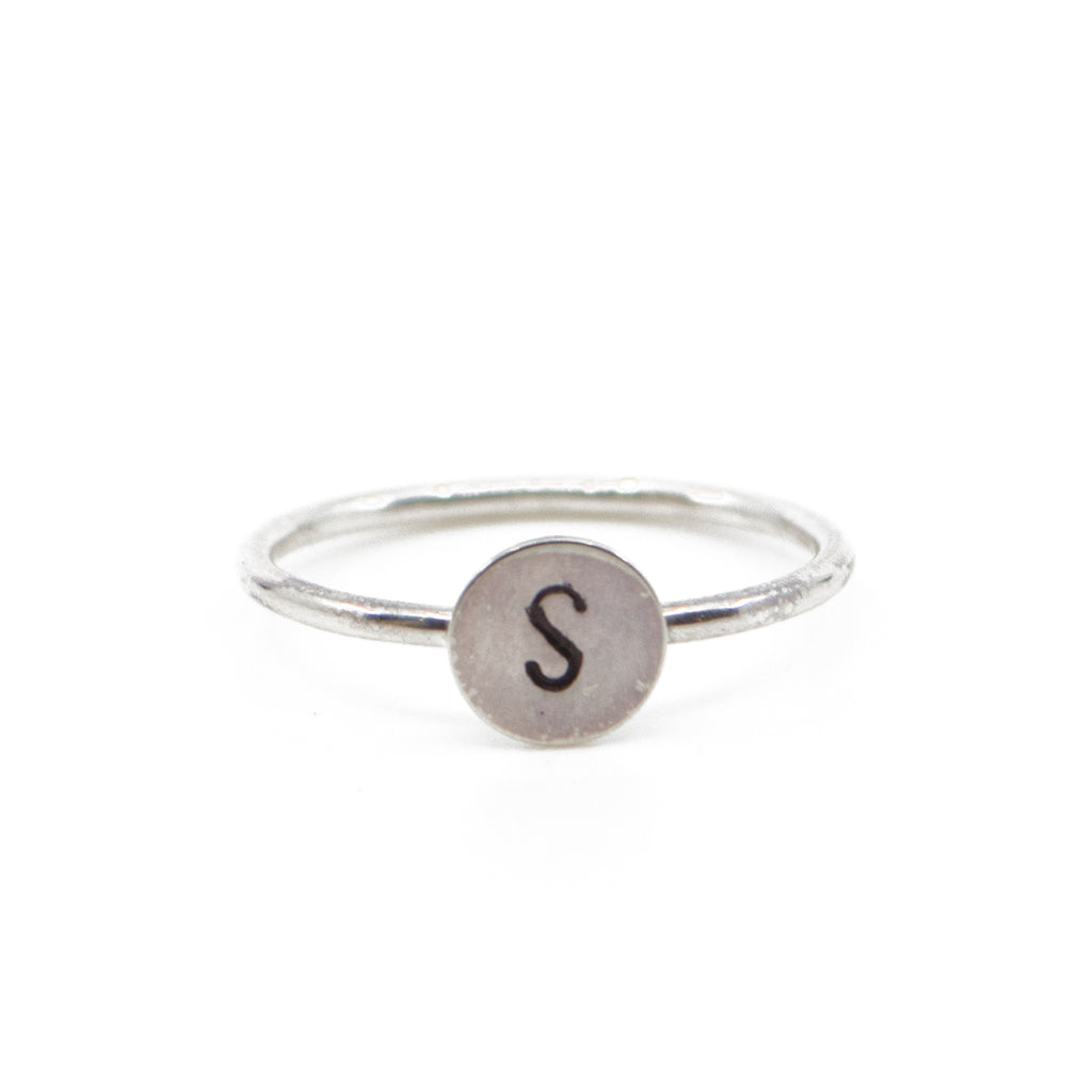 One Initial Stacking Set in Silver