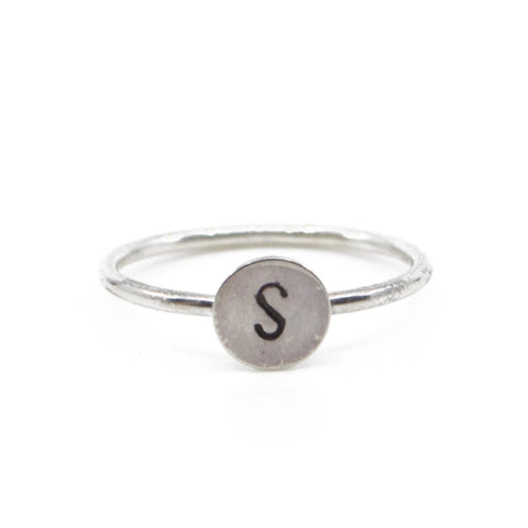 minimal silver initial monogram personalized name jewelry stacking ring