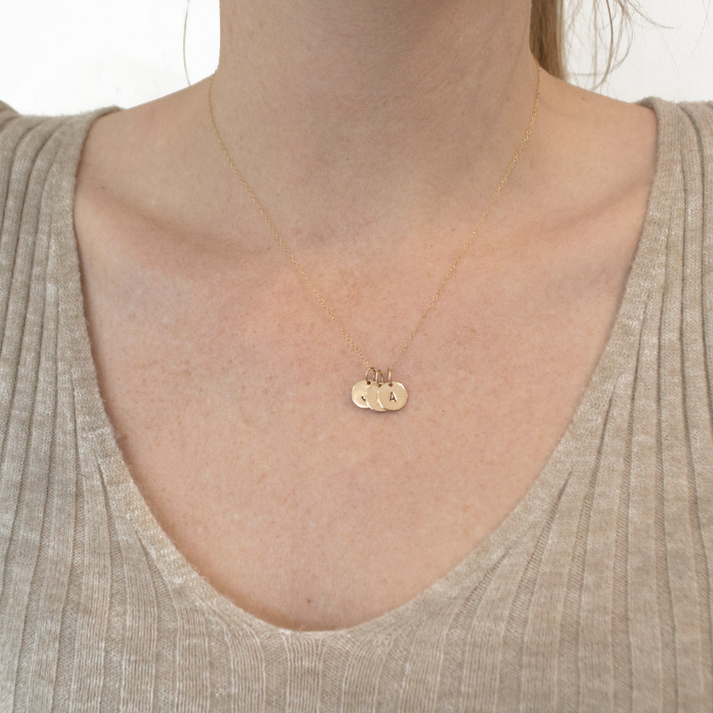 Stamped Initial Necklace in Gold