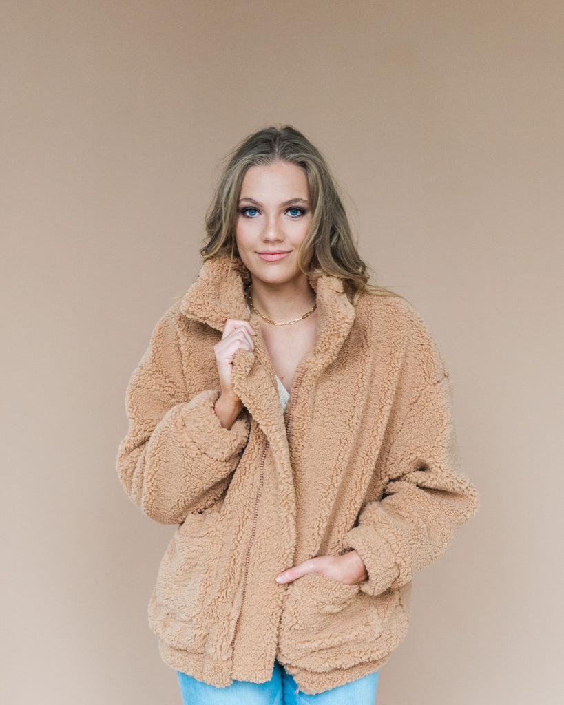Fuzzy Oversized Teddy Coat in Camel