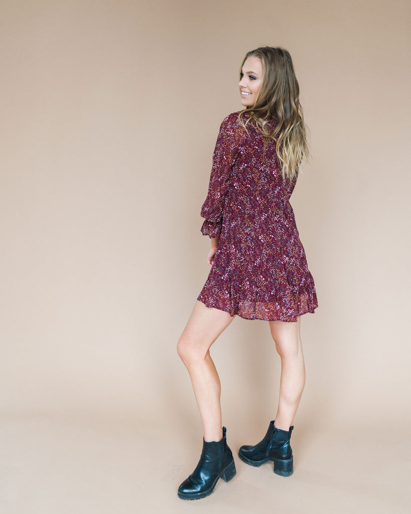 Lucy dress in wine floral