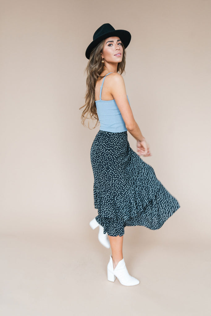 Polka Dot Midi Skirt - Black and White