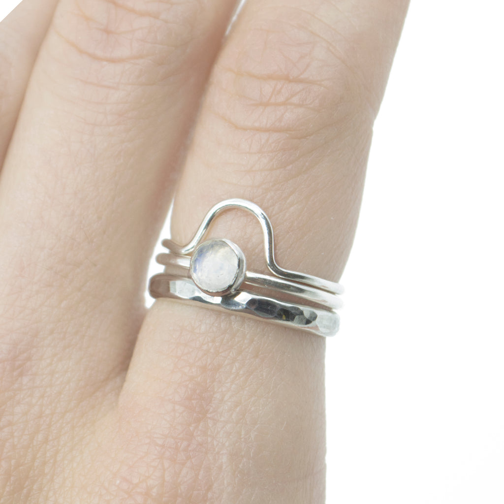 Medium Moonstone Stacking Ring in Silver