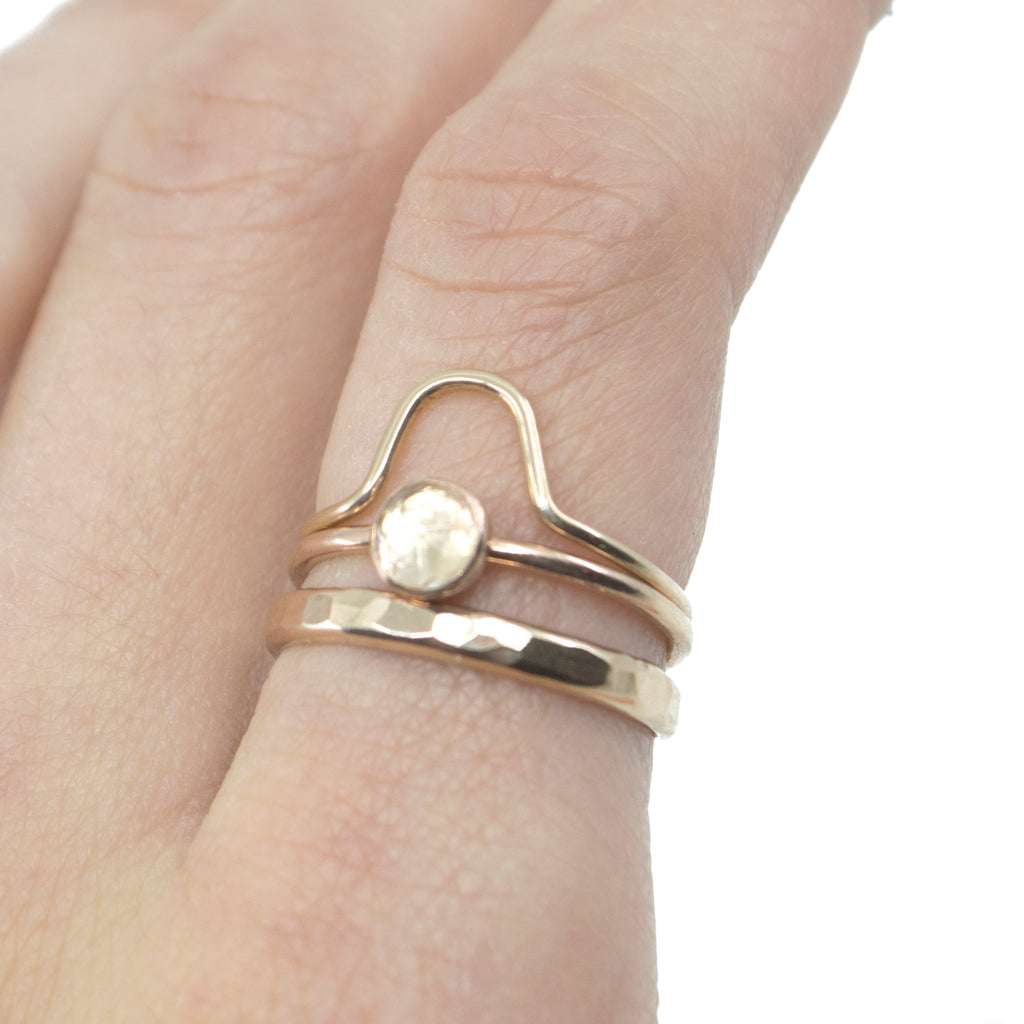 Thick Hammered Stacking Ring in Gold