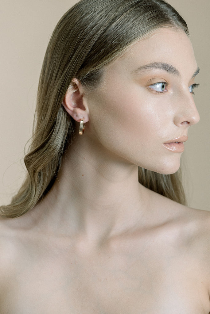 Chunky Hoop Earrings in Gold