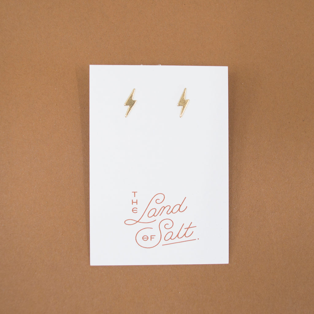 Lightning Bolt Stud Earrings in Brass