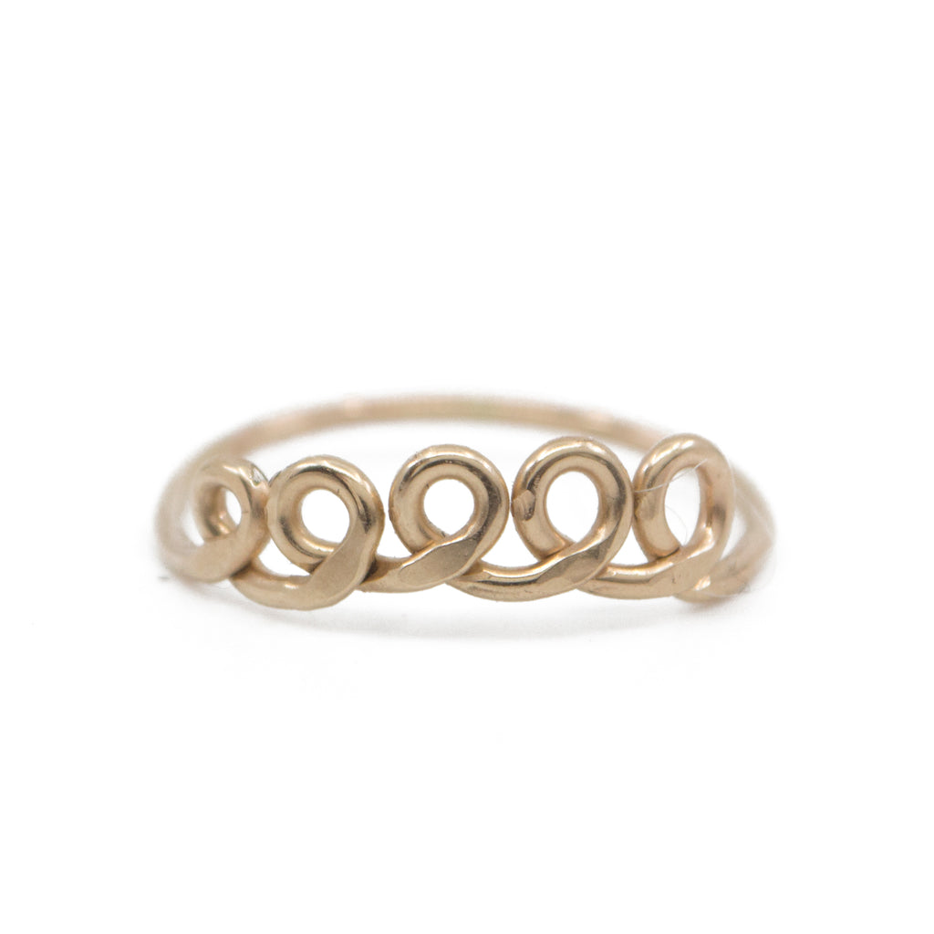 dainty gold loop shaped minimal ring handmade jewelry