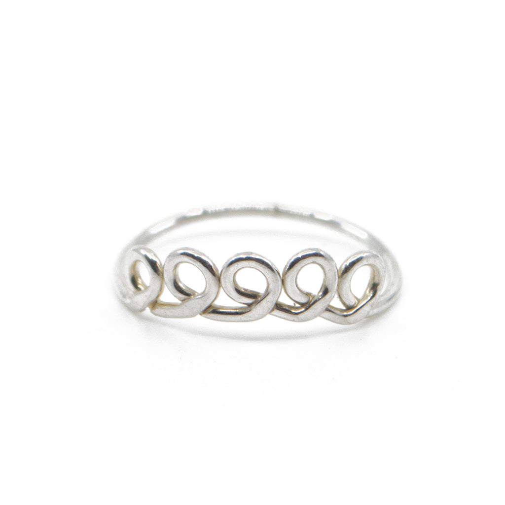 Minimalist loop handmade jewelry silver stacking ring