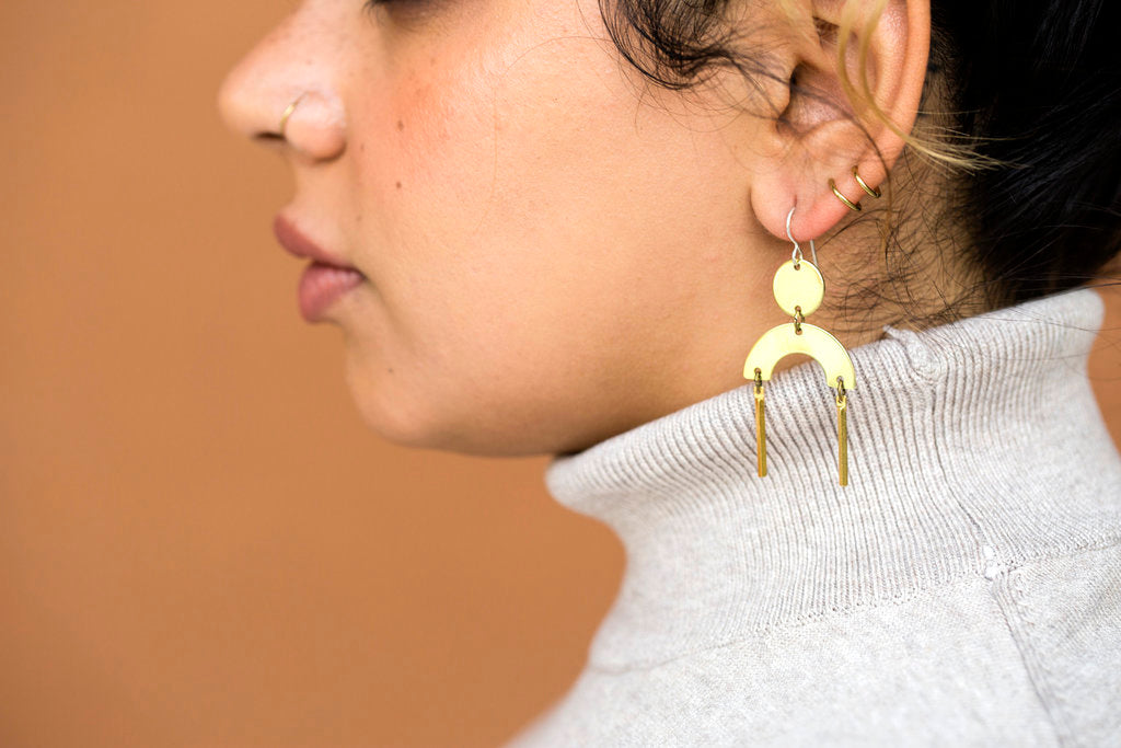 Arch Earrings in Brass