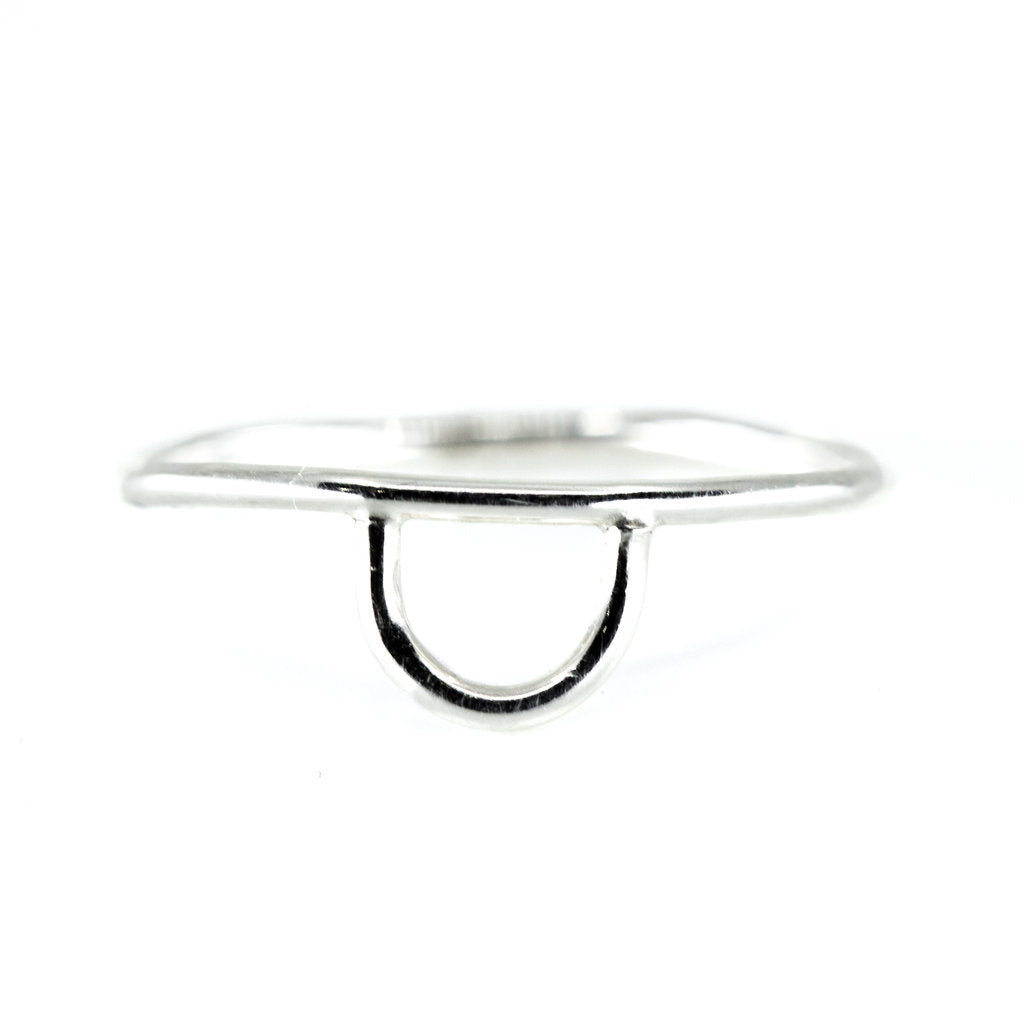 minimalist dainty horseshoe shaped jewelry stacking ring