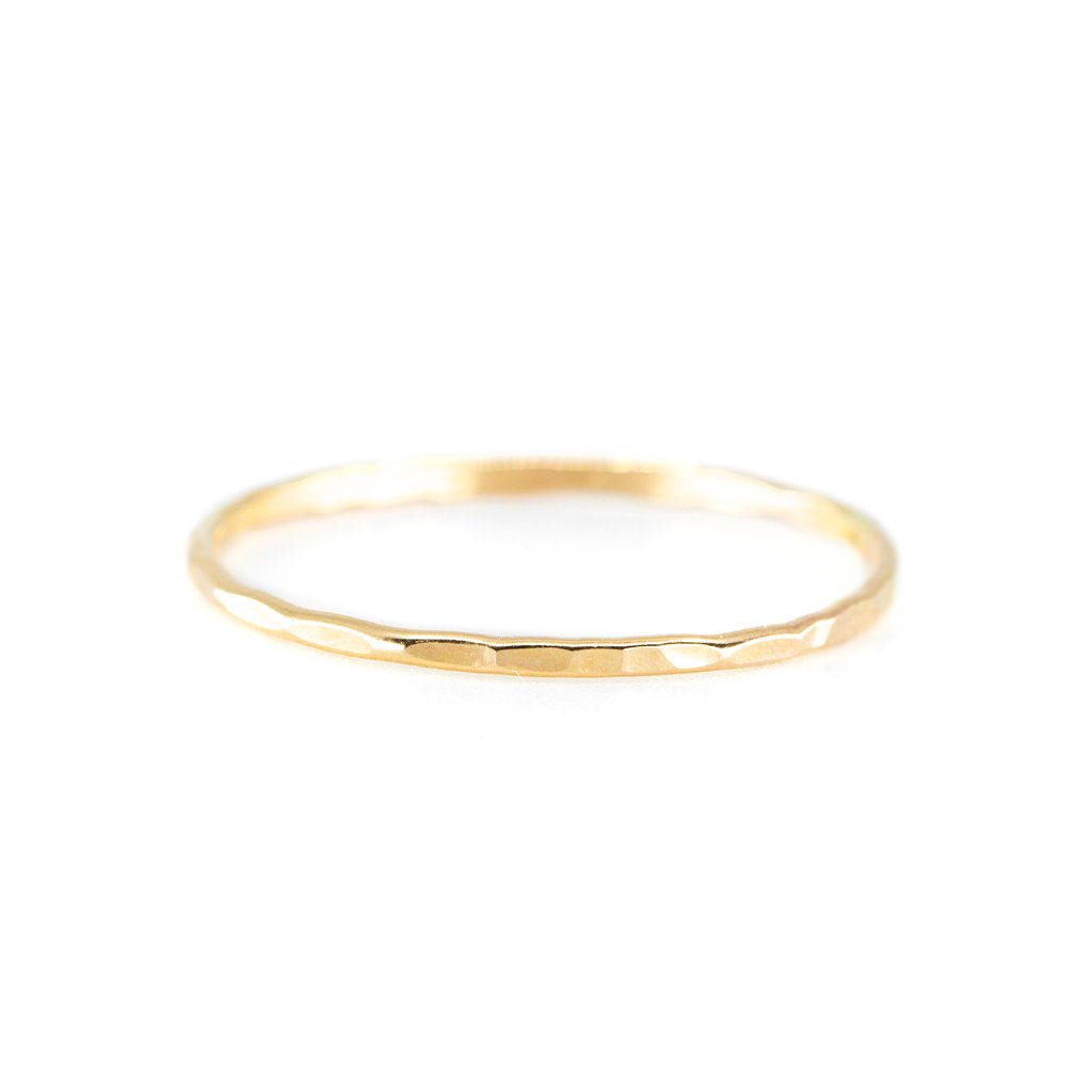 Hammered Stacking Ring in Gold
