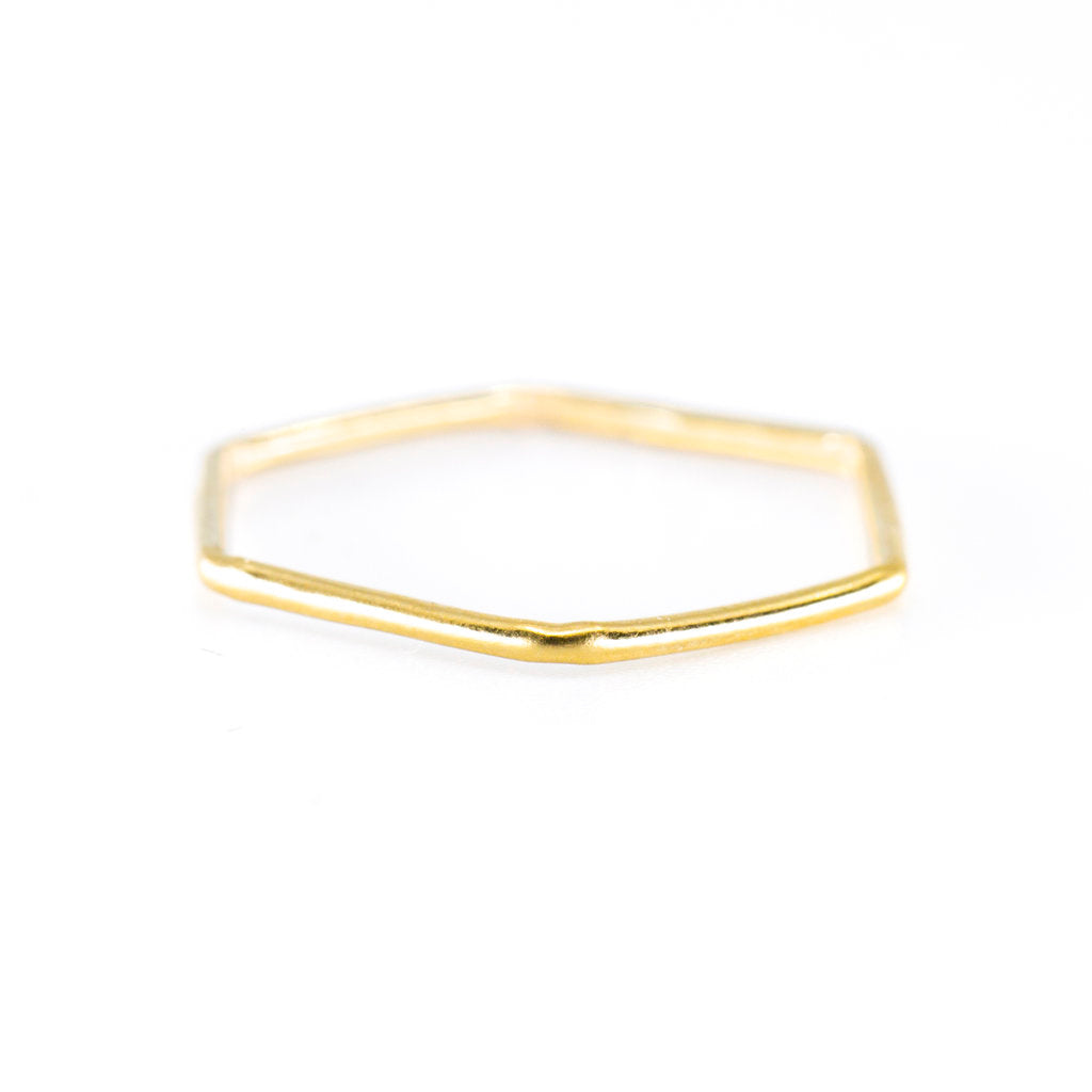 Hexagon Stacking Ring in Gold
