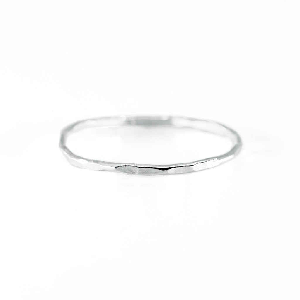 Hammered Stacking Ring in Silver
