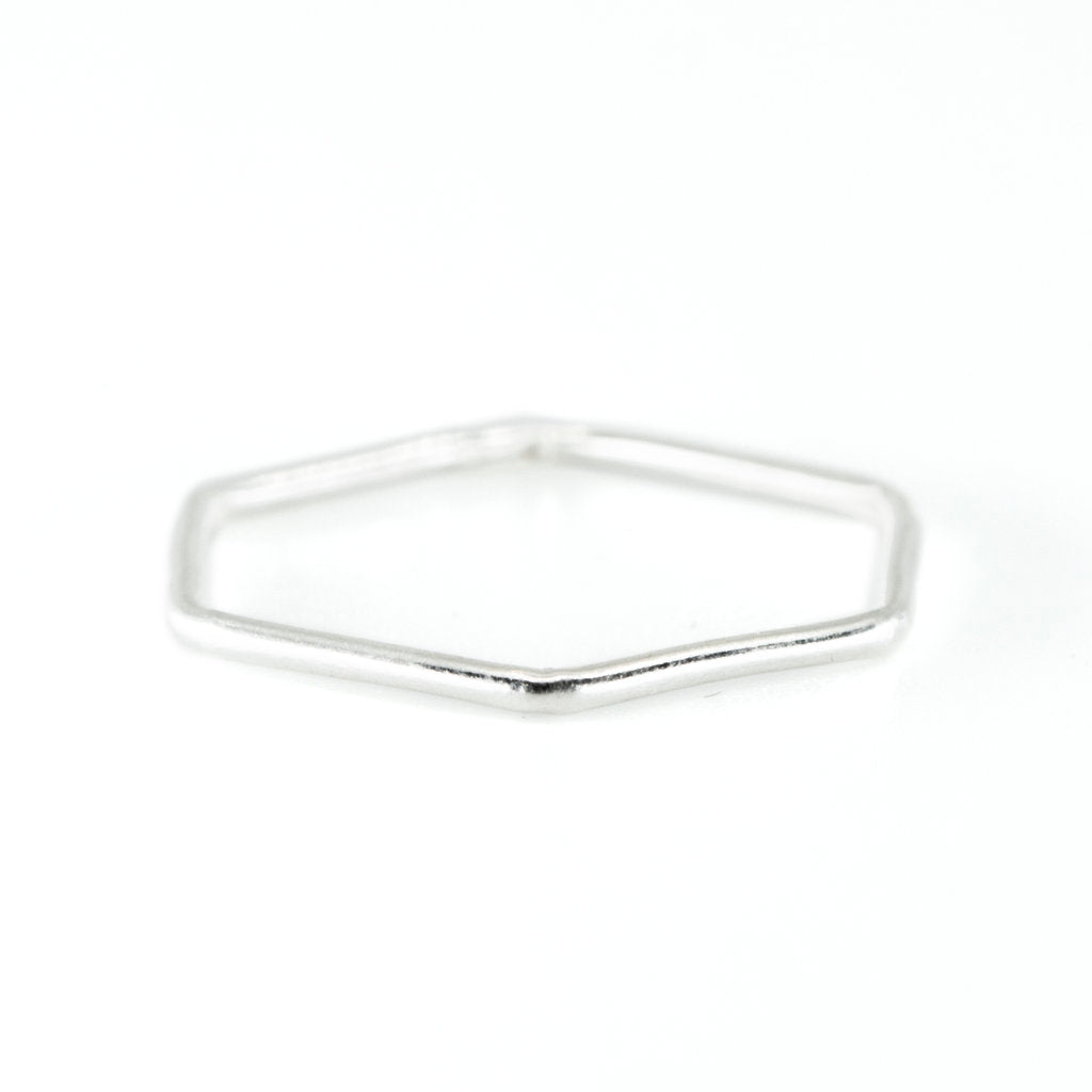 Hexagon Stacking Ring in Silver