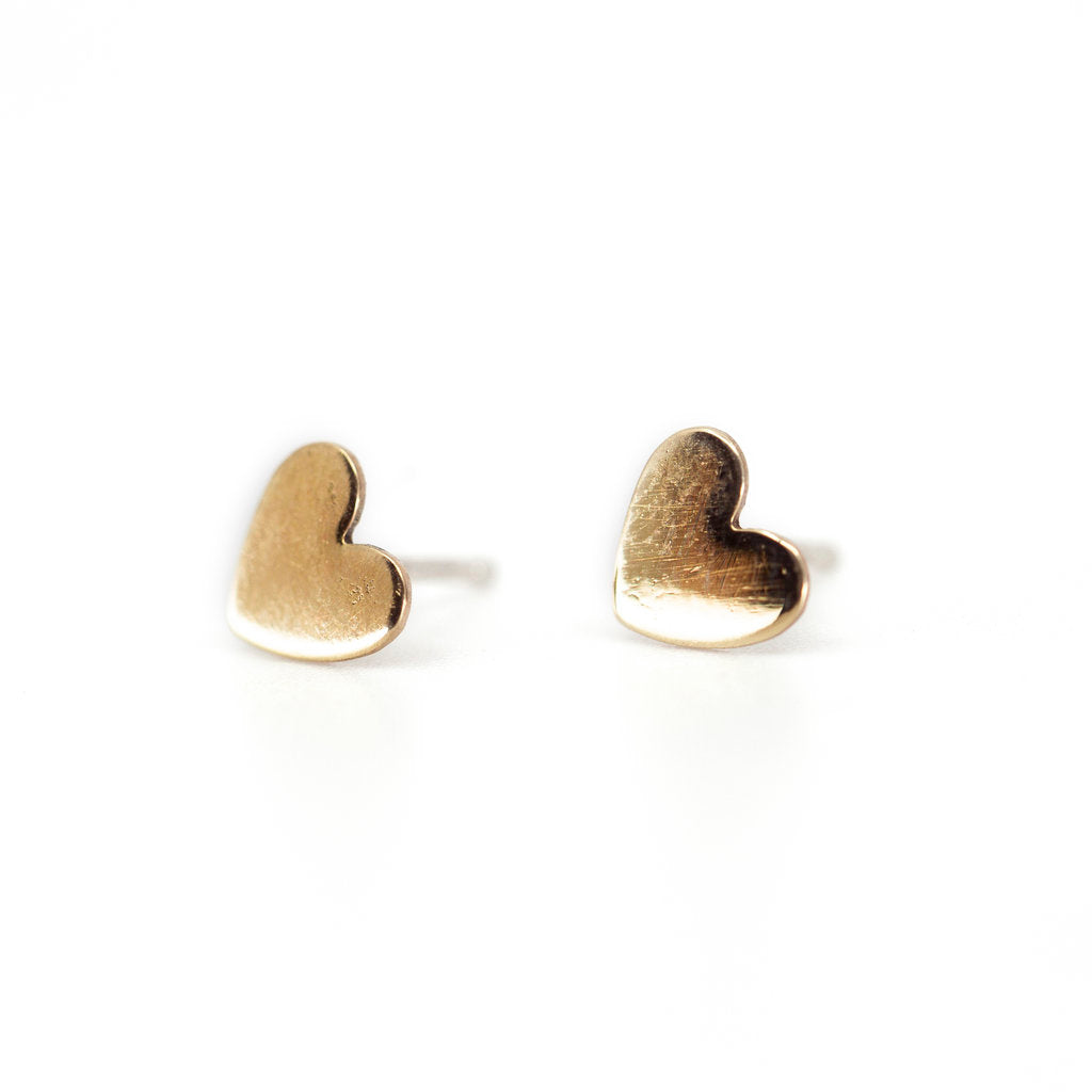 Heart Stud Earrings in Brass
