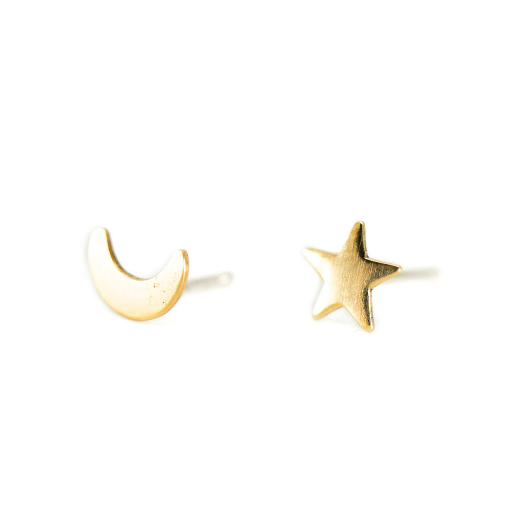 Star and Moon Stud Earrings in Brass