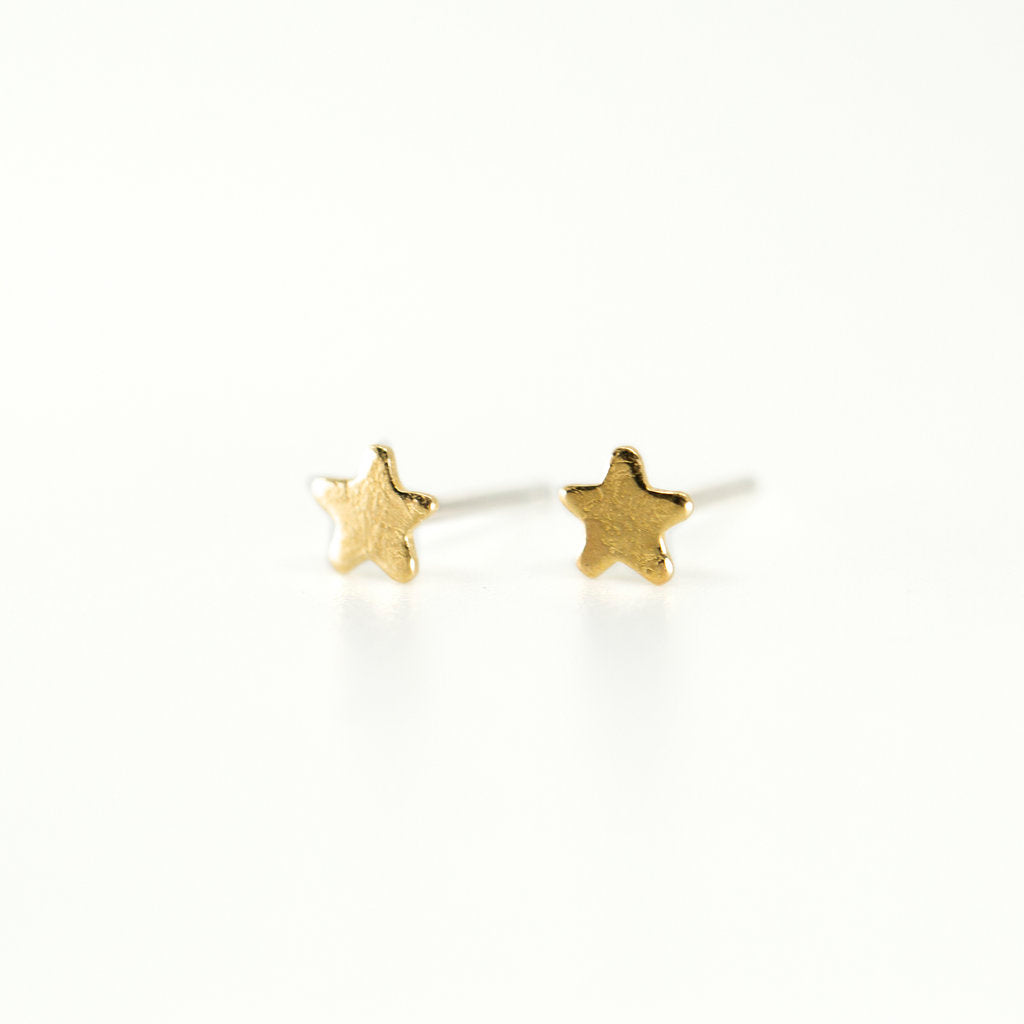 Tiny Star Stud Earrings in Brass