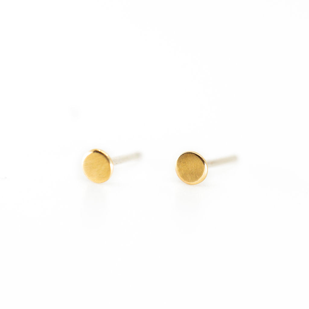 Tiny Circle Stud Earrings in Gold
