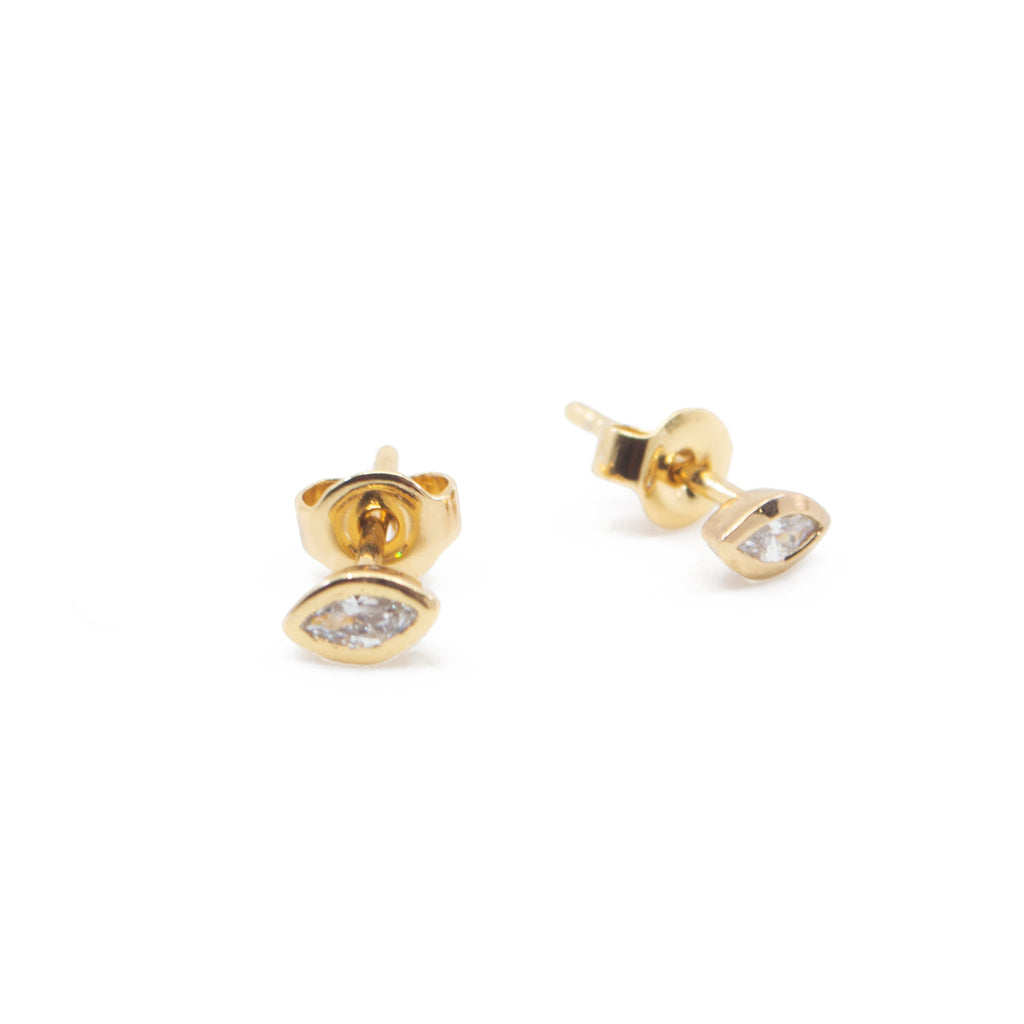 Marquise CZ Diamond Evil Eye Stud Earrings in Gold