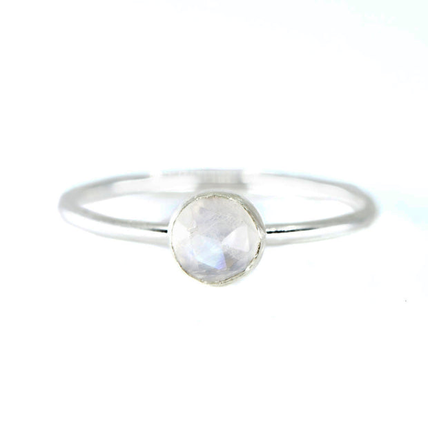 Medium Moonstone Stacking Ring in Silver 1