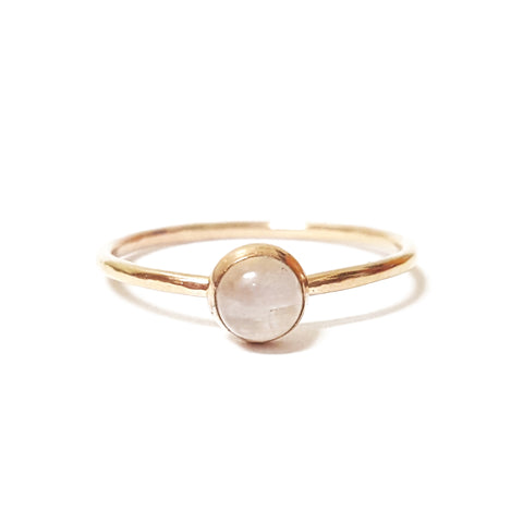moonstone stone birthstone stacking gold ring