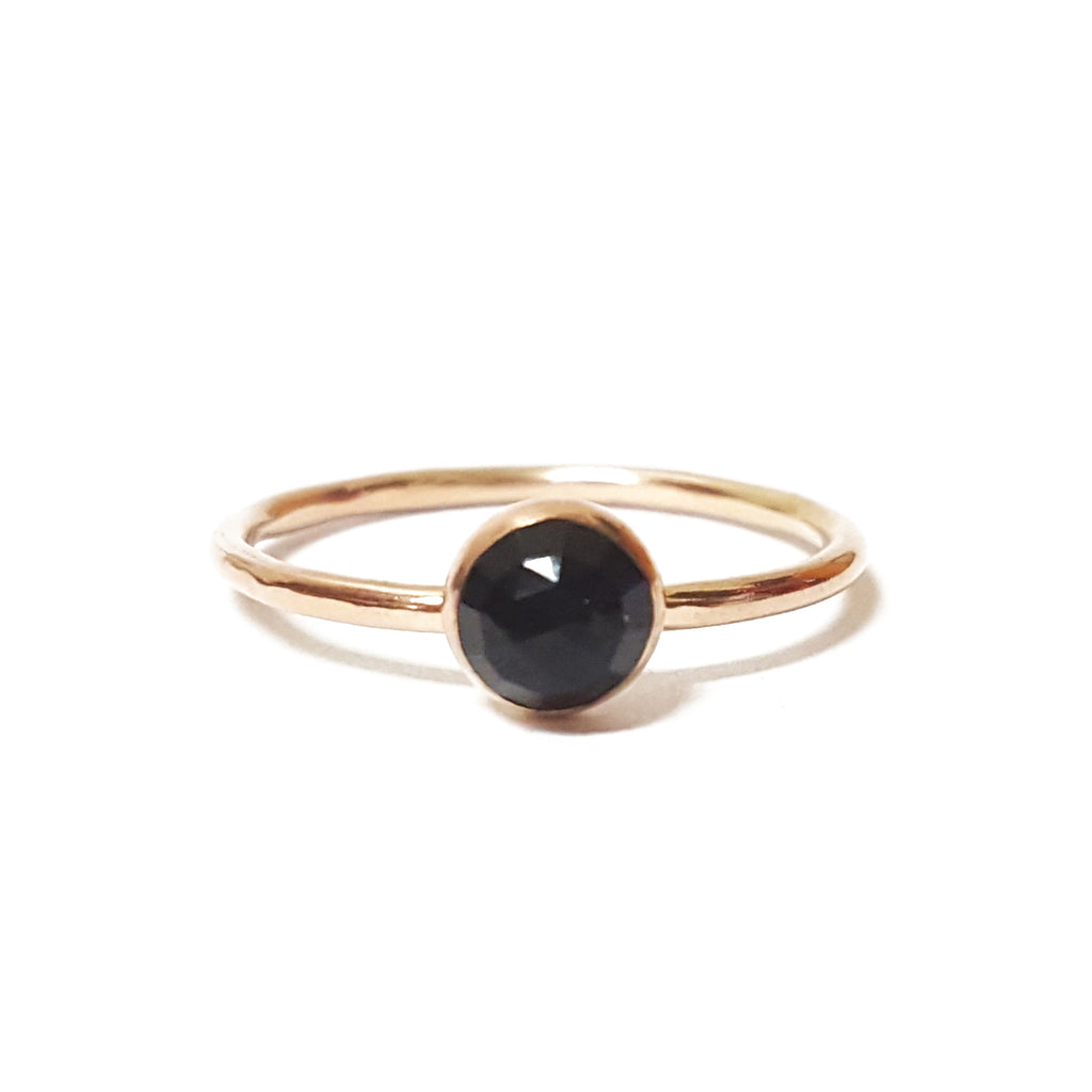 onyx black stone gemstone stone birthstone gold stacking ring