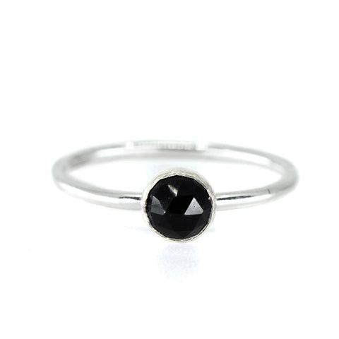 onyx black stone gemstone birthstone sterling silver stacking ring