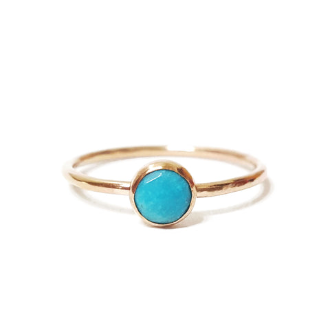 turquoise stone stacking ring birthstone gemstone handmade jewelry