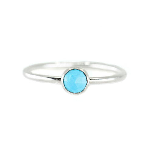 sterling silver turquoise stone gemstone birthstone stacking ring