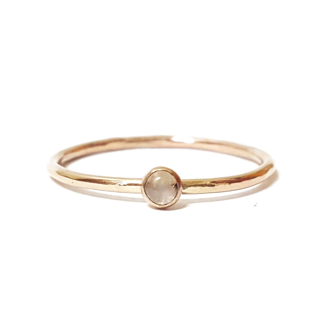 mini birthstone gemstone stone moonstone gold filled minimalist stacking ring