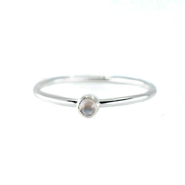 Mini Moonstone Stacking Ring in Silver 1