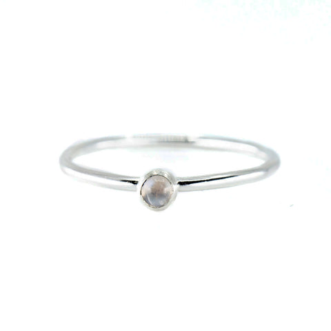 moonstone stone birthstone gemstone mini stacking ring