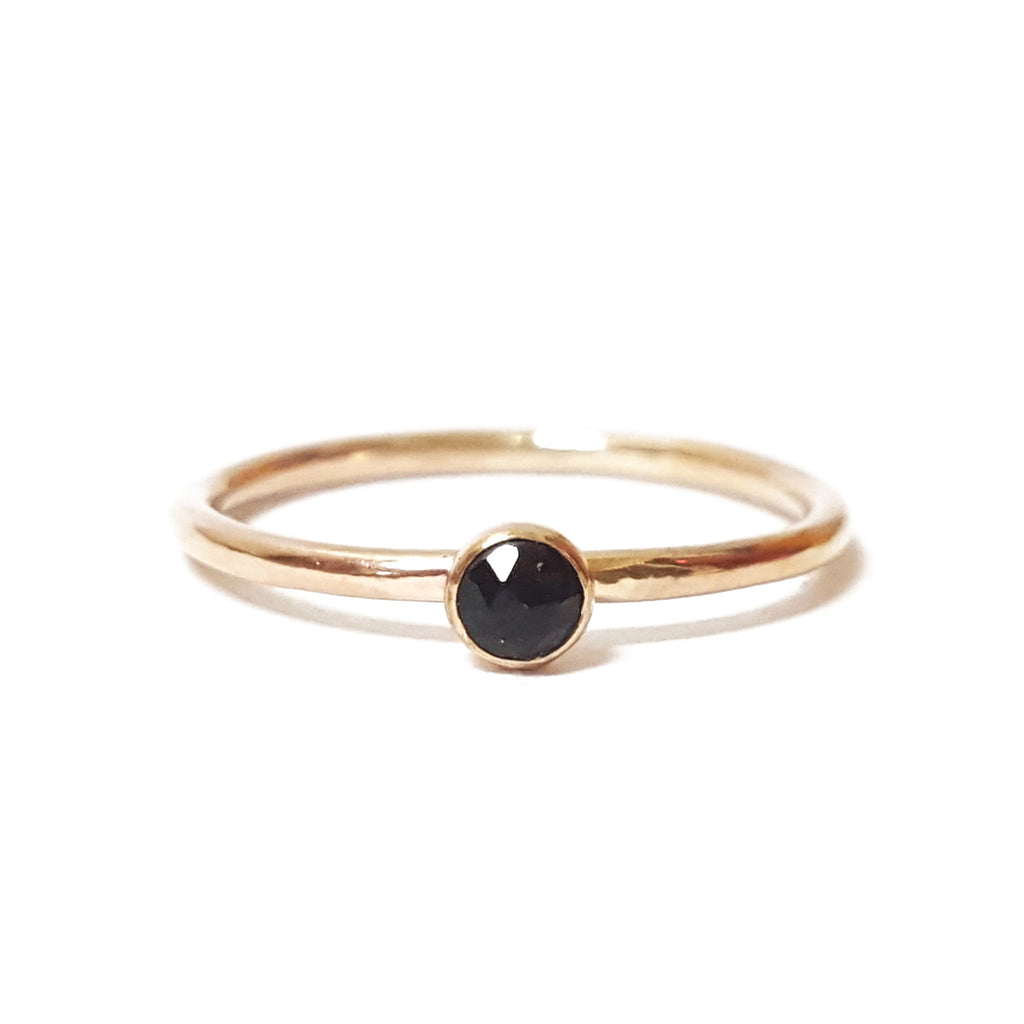black onyx mini stone birthstone gemstone gold stacking ring